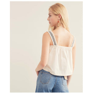 Graphic Strap Sleeveless Top