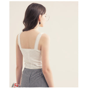 Button Through Lace Tank Top with Sweetheart Neckline