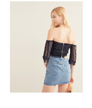 Lace Sleeve Crop Tube Top