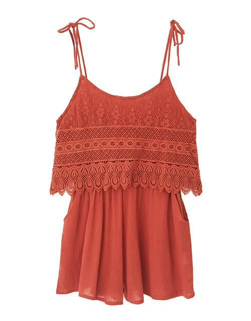 Spaghetti Strap Lace Layer Jumpsuit