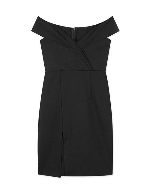 Off Shoulder Turndown Collar Split Bodycon Dress