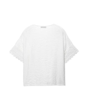 V-Neck Lace Jacquard Short Sleeve Top