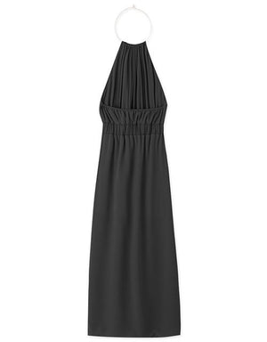 Metal Ring Neck Split Halter Chiffon Long Dress