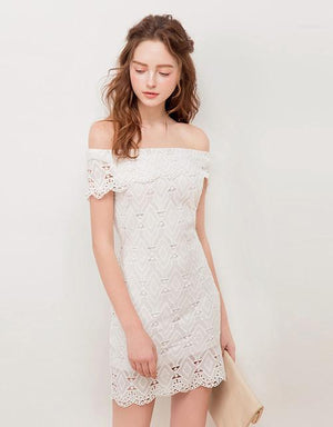 Off Shoulder Turndown Collar Lace Fit Dress