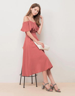 Pleated Neck Spaghetti Strap Long Flare Dress