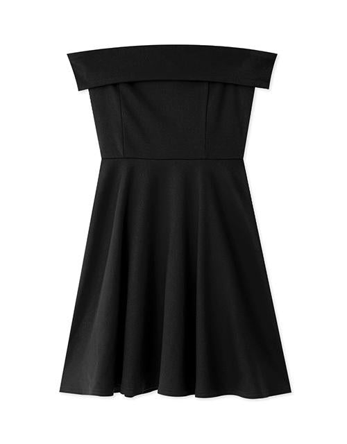 Off Shoulder Turndown Collar Fit & Flare Dress