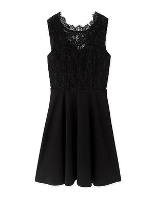 Deep V-Back Eyelash Lace Sleeveless Flare Dress
