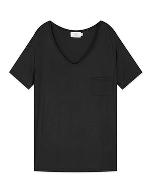V-Neck Minimalist T-shirt with Small Pocket