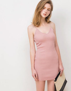 V-Neck Spaghetti Strap Rib Knitted Dress