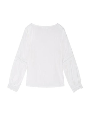 V-Neck Loose Sleeve Lace Embroidered Top