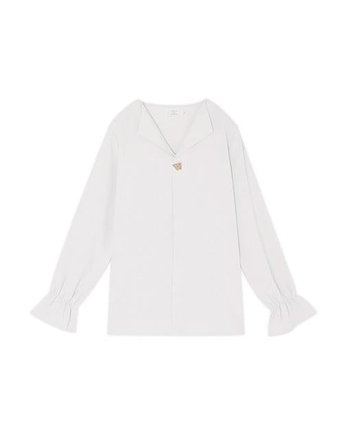 V-Neck Shirt with Metal Pin