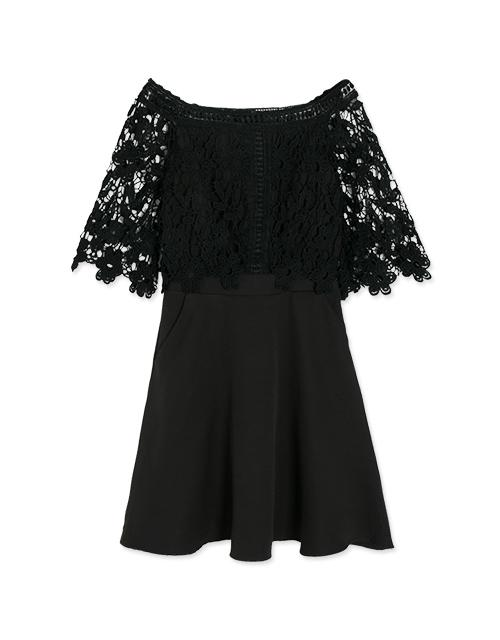 Off Shoulder Lace Jacquard Flare Dress