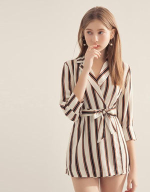 Turndown Collar Stripe Jumpsuit