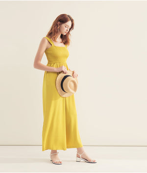 Wide Strap Shirred Sleeveless Jumpsuit