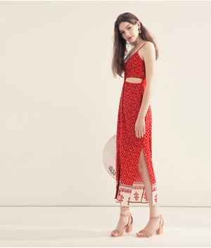 Spaghetti Strap Floral Hollow Waist Long Dress