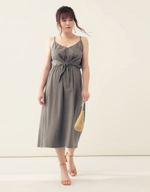 Knot Front Cotton Midi Dress