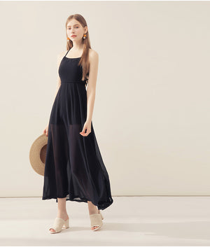 CHIAO Criss Cross Hollow Back Long Dress