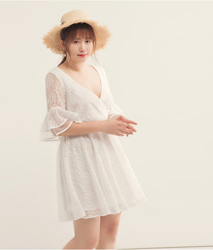Fluted Sleeve LaceWrap Flare Dress