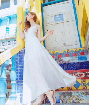 CHIAO Hollow Back Splice Long Dress