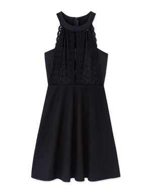 Round Neck Lace Fit&Flare Dress