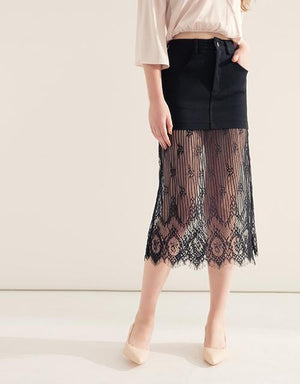 Hollow Eyelash Lace Long Skirt