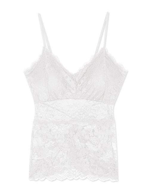 Criss-cross Lace Tank Top (with detachable bra pad)