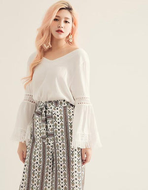 V-neck Jacquard Sleeve Blouse