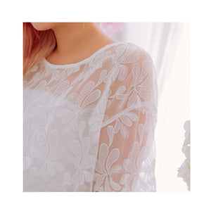 Round Neck Floral Transparent Top