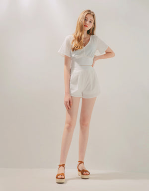 V-Neck Back Tie Top & Shorts Set Wear
