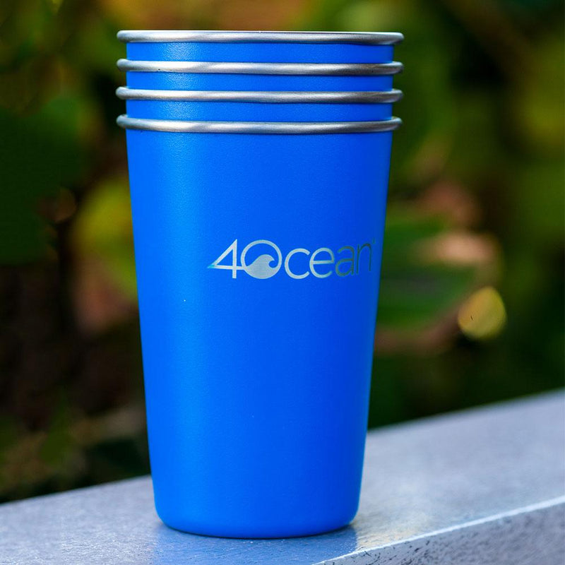 4OceanⓇ Reusable Stainless Steel Cups 4-Pack