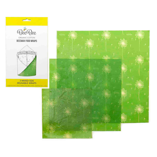 BeeBee Wraps Organic Cotton Beeswax Food Wraps - 3 Mixed