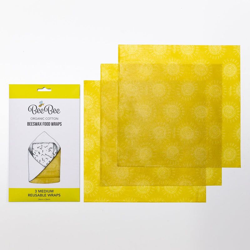 Organic Cotton Beeswax Food Wraps - 3 Medium