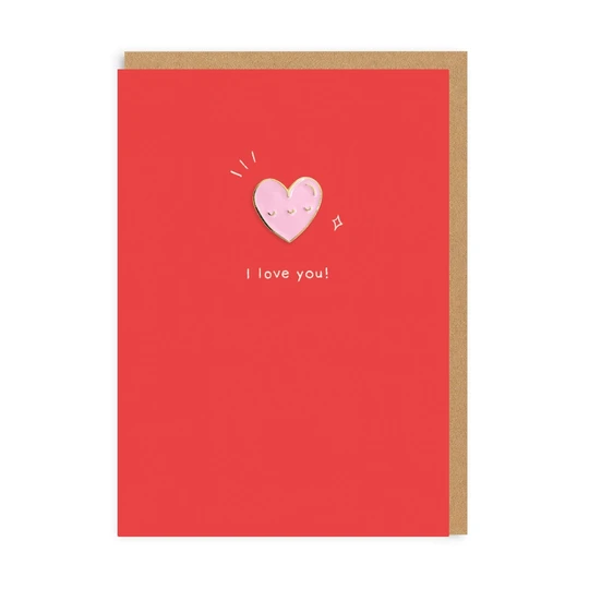 Heart Enamel Pin Card