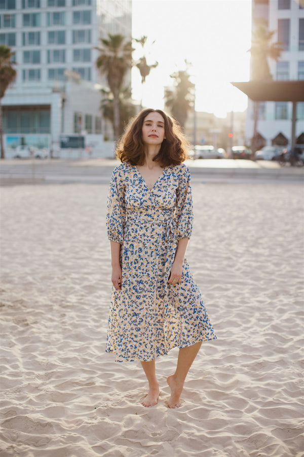 Shaffa wrap dress yellow & blue print