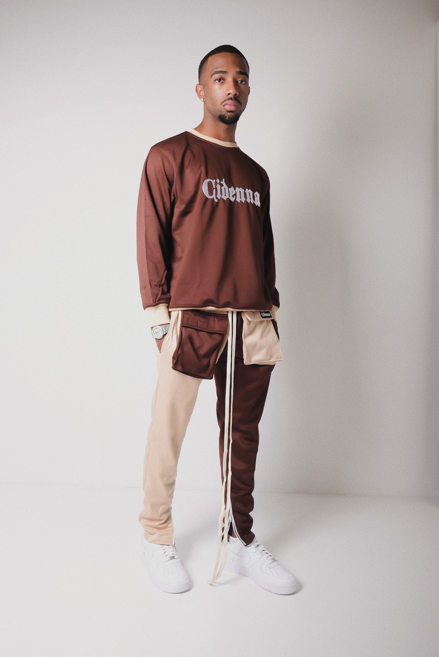 Amar model wearing Cidenna two tone cargo pants and two tone sweatshirt from cidenna two tone collection