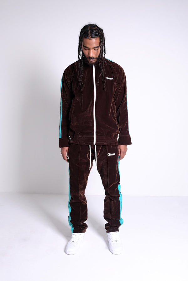 VELOUR TRACKSUIT IN COCOA TEAL - CIDENNA