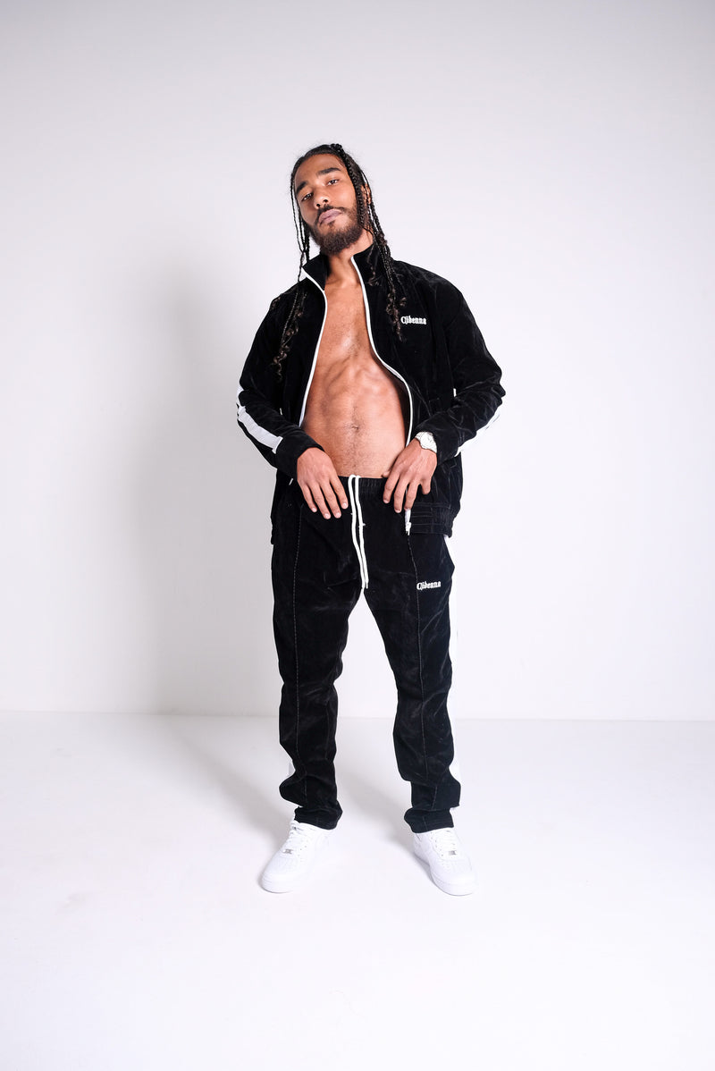 VELOUR TRACKSUIT IN BLACK - CIDENNA
