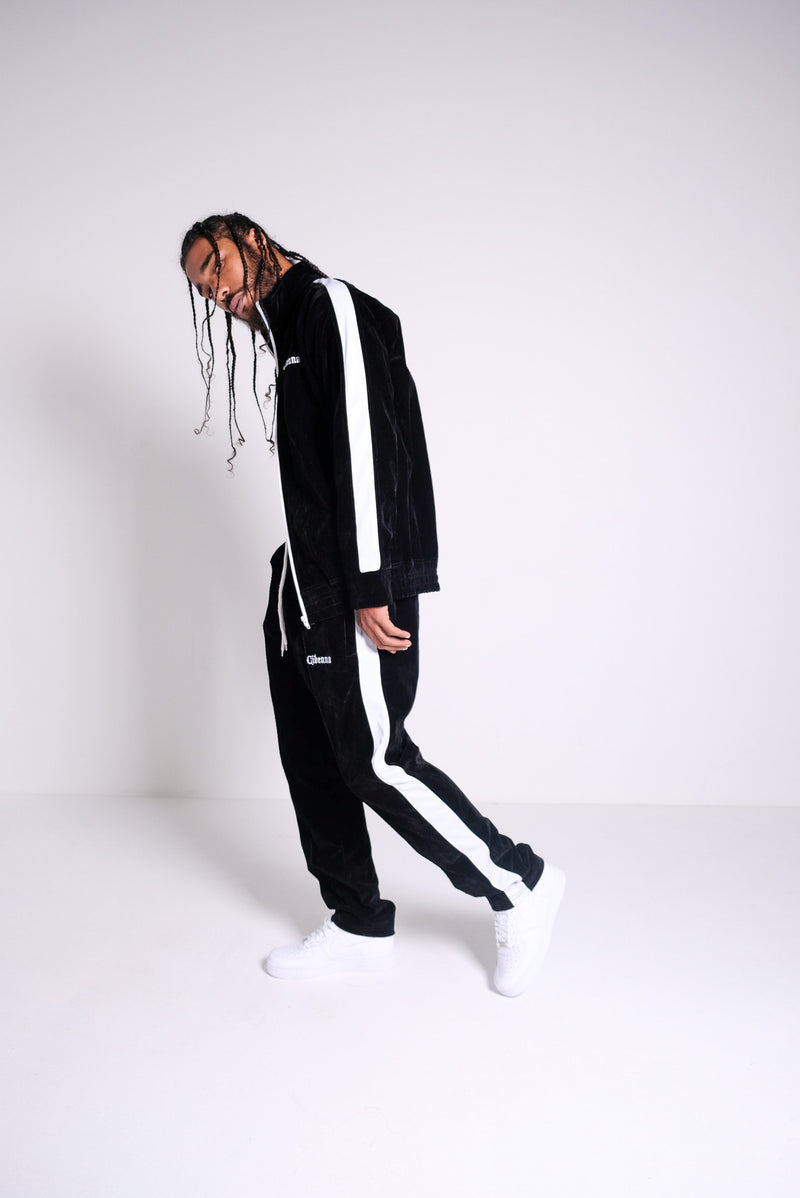 Cidenna black velour tracksuit with logo