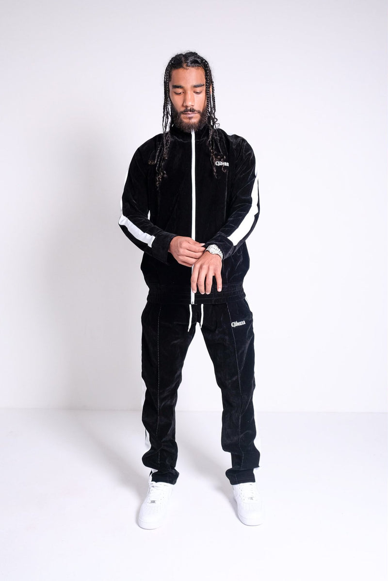 model wearing cidenna velour tracksuit