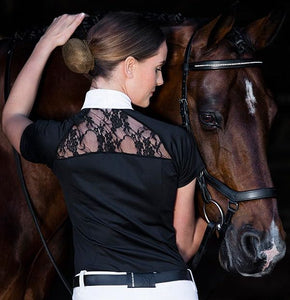 Discount equestrian horseback riding tops. Short sleeve horseback riding shirts for amateur and professional horseback riders. Short sleeve and sleeveless horseback riding shirts.