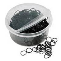 Grooming supplies for horses. These braiding elastics are black and designed for the equestrians.
