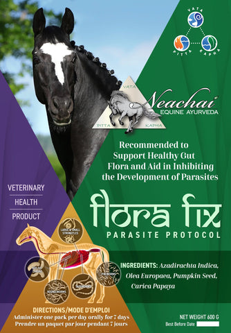 Neachai horse herbal supplement. Recommended to support a healthy gut flora and aid in inhibiting the development of parasites.