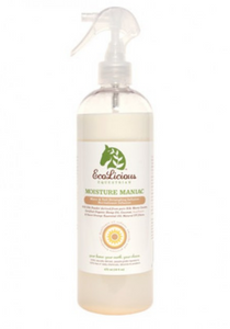The ecolicious all natural product for grooming horses. Moisture maniac.