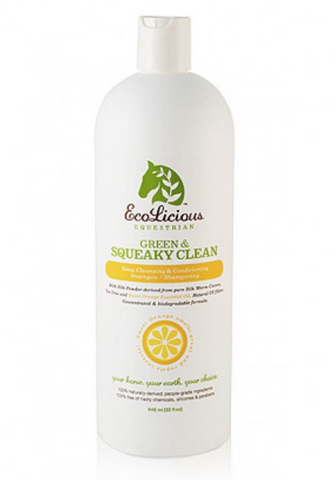 The ecolicious all natural product for grooming horses. Green and squeaky clean, shampoo for horses.