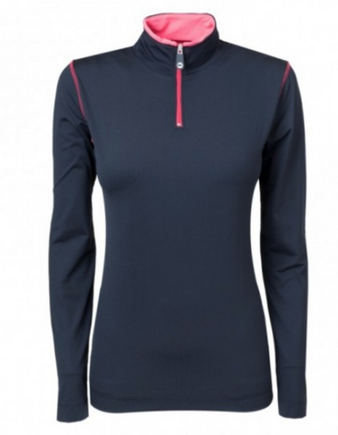 PK International quarter zip long-sleeve horseback riding shirt for the fashionable equestrian.