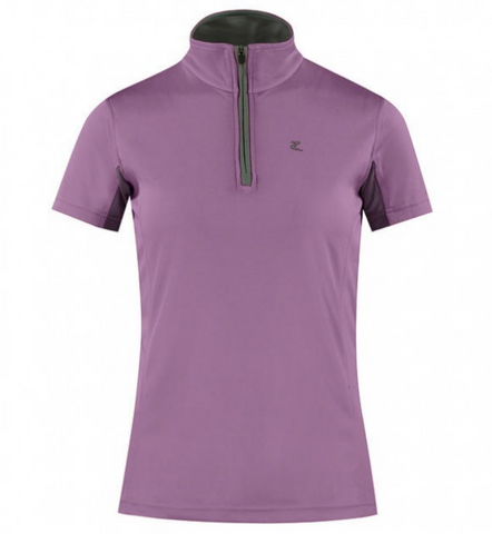 The Horze Trista short-sleeve 1/4 zip horseback riding shirt for fashionable equestrians. A great addition to any summer or fall horseback riding wardrobe.