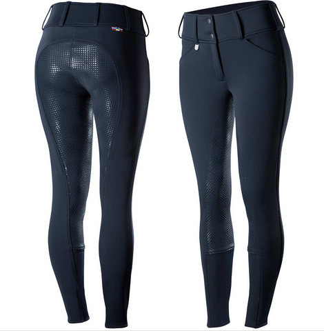 The Horze horseback riding pants for winter horseback riding. These are great for staying warm while you are horseback riding in the winter.