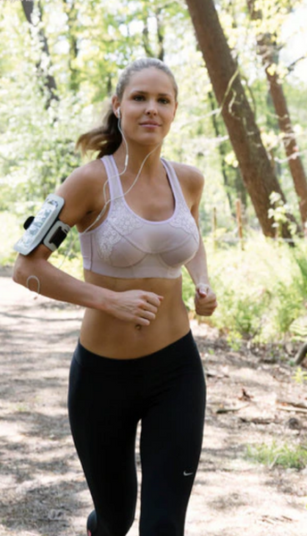 Q-Linn horseback riding sports bra for the fashionable equestrian. These sports horseback riding bras are great for the bouncing of the fashionable equestrian.