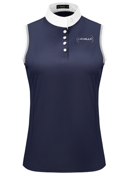 Cavallo International sleeveless shirt for stylish equestrians. This fashionable horseback riding shirt is perfect for all equestrians.