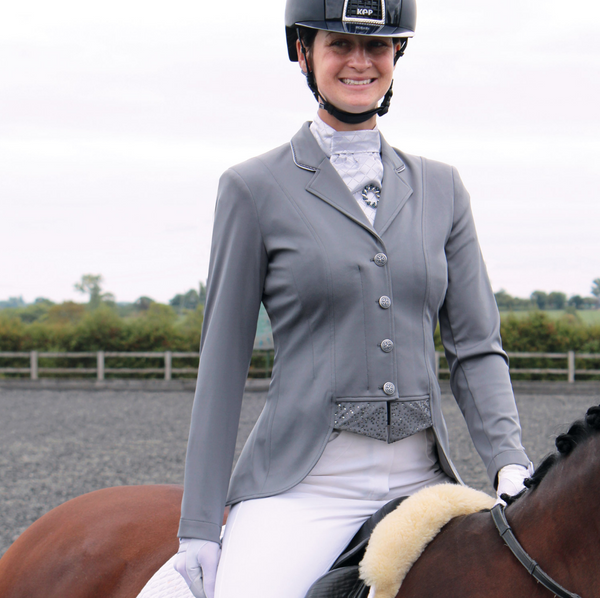 Equetech moonlight tailored short competition horseback riding jacket.